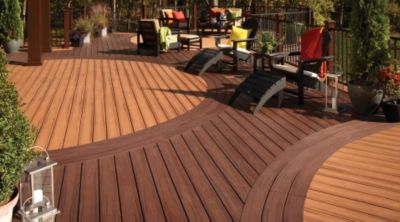 Trex transcend lava rock for Circular garden decking